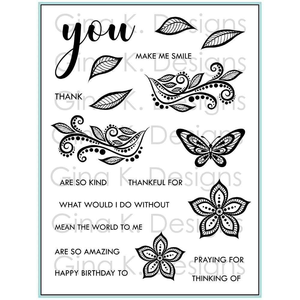 Gina K Designs BOHO FLOWERS Clear Stamps 9308 zoom image