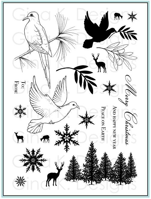 Gina K Designs PEACEFUL HOLIDAY Clear Stamps 9285 zoom image