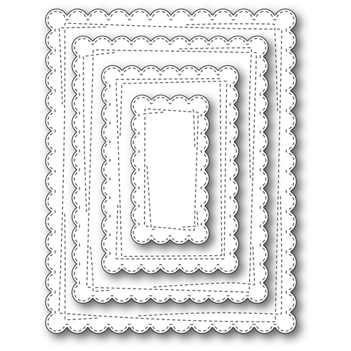 Memory Box WRAPPED SCALLOPED RECTANGLES Open Studio Craft Die Set 30112 Preview Image