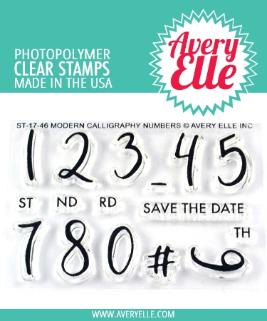 Avery Elle Clear Stamps MODERN CALLIGRAPHY NUMBERS ST-17-46 zoom image