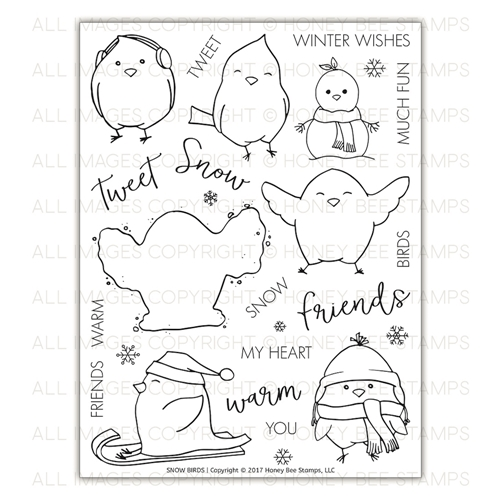 Honey Bee SNOW BIRDS Clear Stamp Set hbst-088* Preview Image