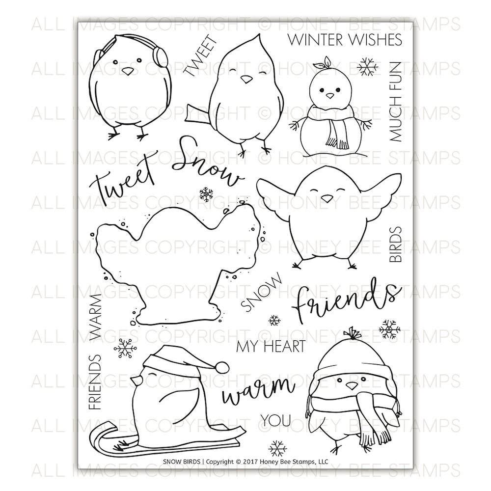 Honey Bee SNOW BIRDS Clear Stamp Set hbst-088* zoom image