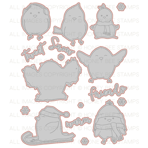 Honey Bee SNOW BIRDS Dies hbds-088* Preview Image