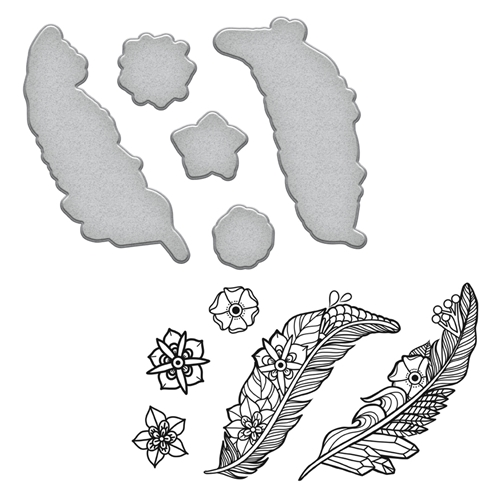 SDS-100 Spellbinders FEATHERS Stephanie Low Cling Stamp and Die Set Preview Image