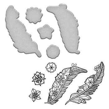 SDS-100 Spellbinders FEATHERS Stephanie Low Cling Stamp and Die Set