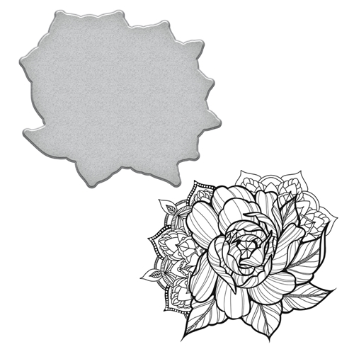 SDS-099 Spellbinders MEDIUM PEONY Stephanie Low Cling Stamp and Die Set* Preview Image