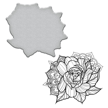SDS-099 Spellbinders MEDIUM PEONY Stephanie Low Cling Stamp and Die Set*