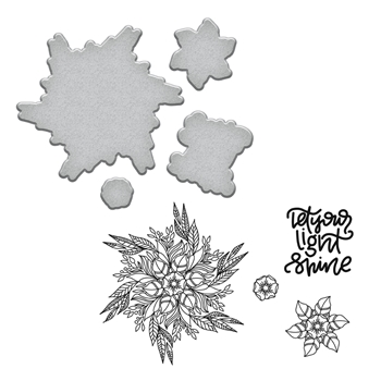 SDS-097 Spellbinders LIGHT SHINE Stephanie Low Cling Stamp and Die Set*