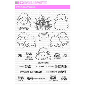 Clearly Besotted EWE ARE AWESOME Clear Stamp Set