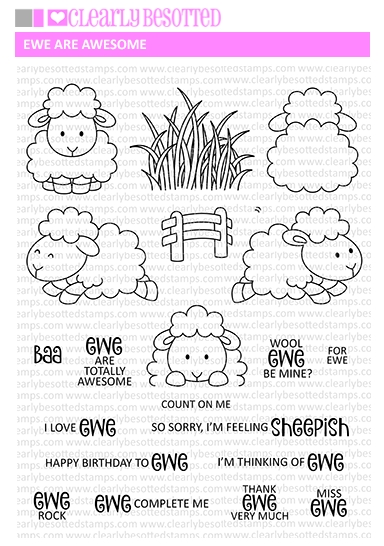 Clearly Besotted EWE ARE AWESOME Clear Stamp Set zoom image