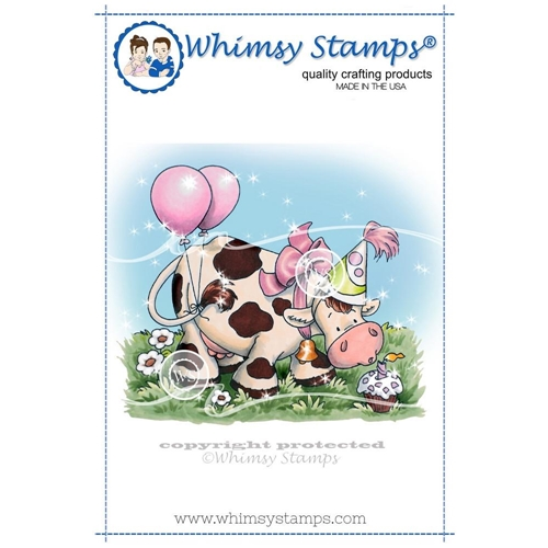Whimsy Stamps BIRTHDAY COW Rubber Cling Stamp c1269 Preview Image