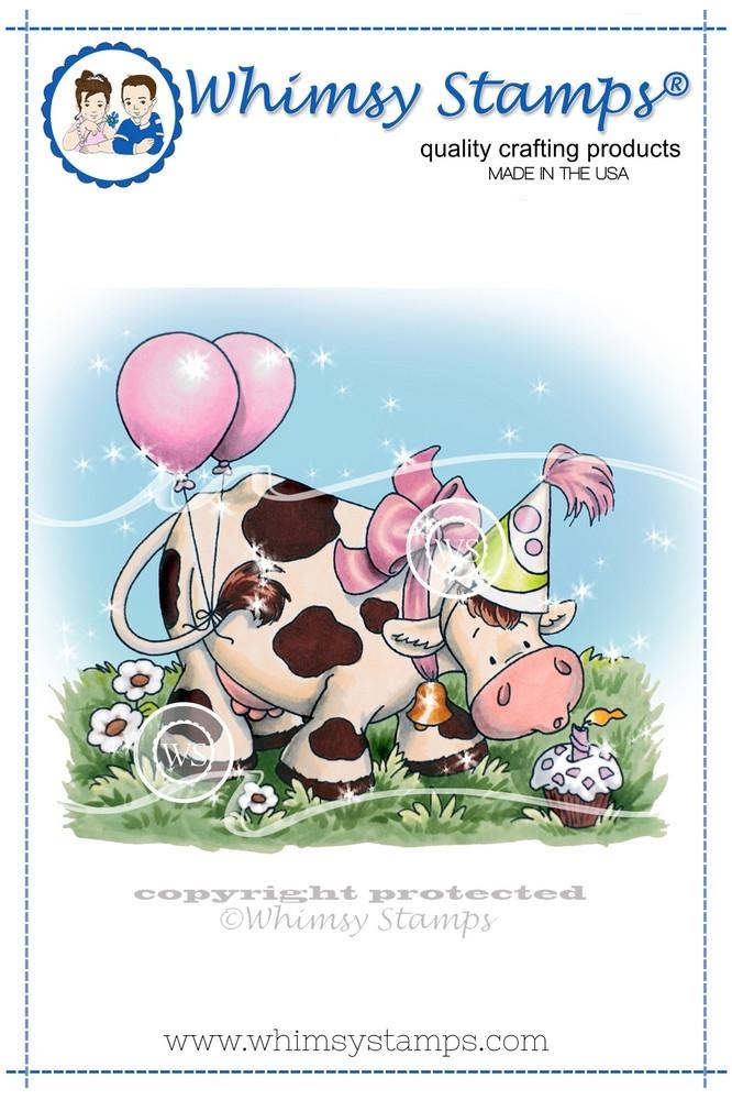 Whimsy Stamps BIRTHDAY COW Rubber Cling Stamp c1269 zoom image