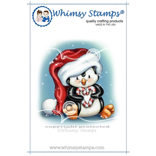 Whimsy Stamps PENGUIN CHRISTMAS SWEETHEART Rubber Cling Stamp c1297 Preview Image
