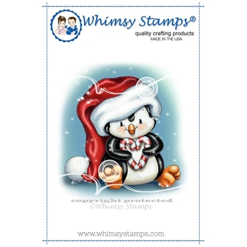 Whimsy Stamps PENGUIN CHRISTMAS SWEETHEART Rubber Cling Stamp c1297