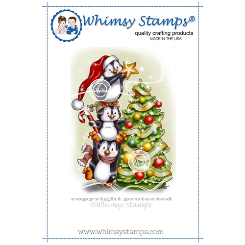 Whimsy Stamps PENGUINS DECORATE THE TREE Rubber Cling Stamp c1258 Preview Image