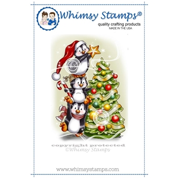 Whimsy Stamps PENGUINS DECORATE THE TREE Rubber Cling Stamp c1258