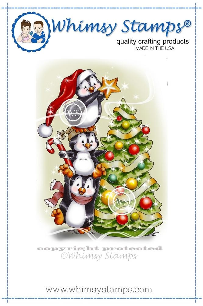 Whimsy Stamps PENGUINS DECORATE THE TREE Rubber Cling Stamp c1258 zoom image