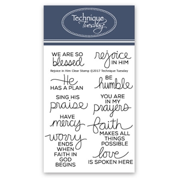 Technique Tuesday REJOICE IN HIM Clear Stamps 02518
