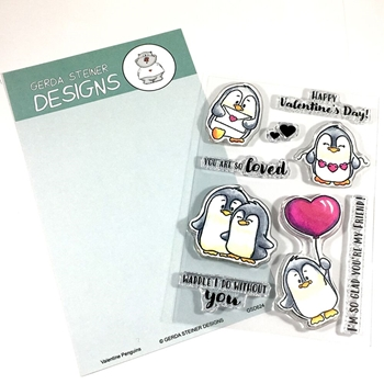 Gerda Steiner Designs VALENTINE PENGUINS Clear Stamp Set gsd624