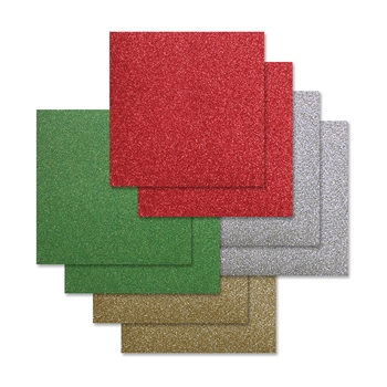 Simon Says Stamp Cardstock CHEERFUL HOLIDAY GLITTER 6x6 Pack ssschh8