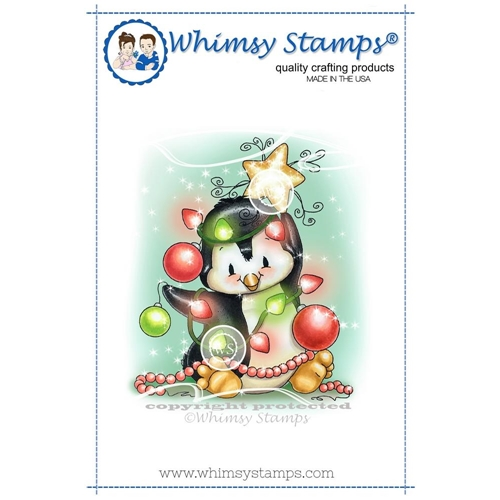 Whimsy Stamps PENGUIN CHRISTMAS TREE Rubber Cling Stamp c1298 Preview Image