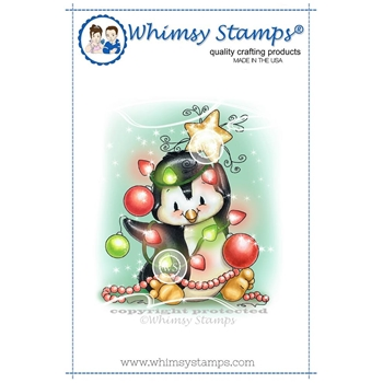 Whimsy Stamps PENGUIN CHRISTMAS TREE Rubber Cling Stamp c1298
