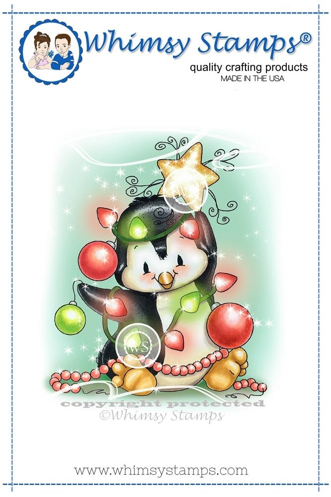 Whimsy Stamps PENGUIN CHRISTMAS TREE Rubber Cling Stamp c1298 zoom image
