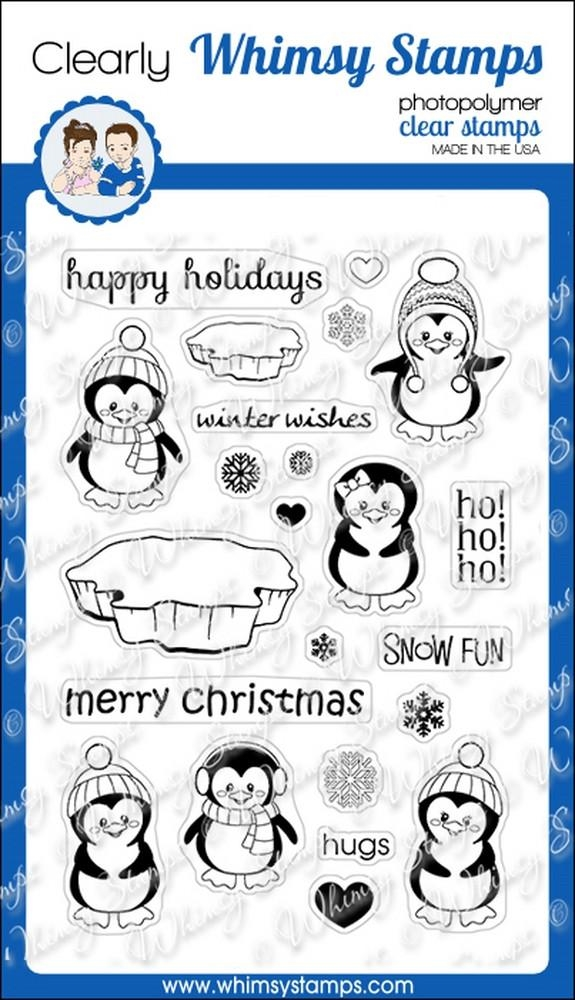 Whimsy Stamps PENGUINS WINTER ADVENTURE Clear Stamps cwsd146 zoom image
