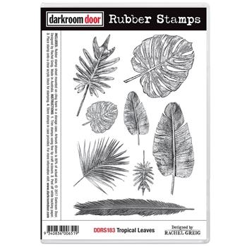 Darkroom Door Cling Stamp TROPICAL LEAVES Rubber UM DDRS183*