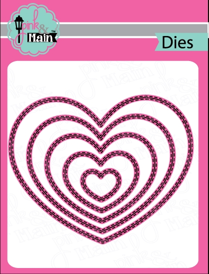 Pink and Main DOUBLE STITCHED HEART Die Set PNM131 zoom image