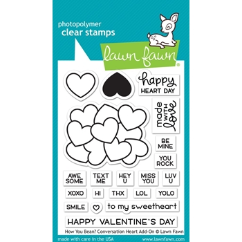 Lawn Fawn HOW YOU BEAN CONVERSATION HEART ADD-ON Clear Stamps LF1553