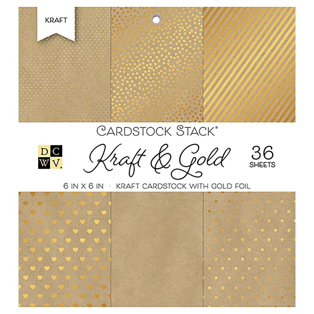 DCWV Cardstock 6 x 6 KRAFT AND GOLD Paper Stack ps-005-00559 zoom image