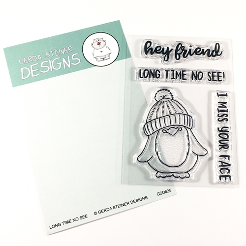 Gerda Steiner Designs LONG TIME NO SEE PENGUIN Clear Stamp Set gsd625 Preview Image