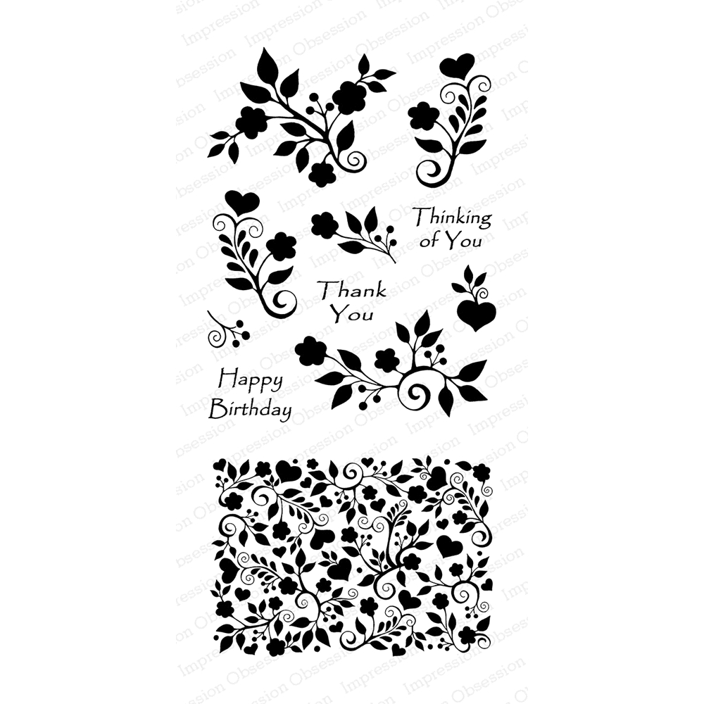 Impression Obsession Clear Stamp FLORAL HEART BACKGROUND Set WP806* zoom image
