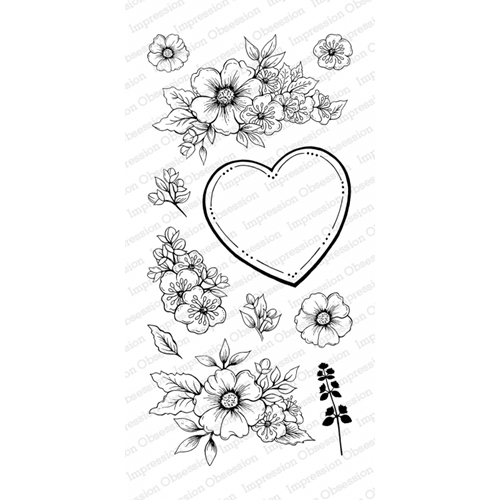 Impression Obsession Clear Stamp FLORAL HEART Set WP805* Preview Image