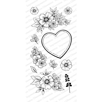 Impression Obsession Clear Stamp FLORAL HEART Set WP805*