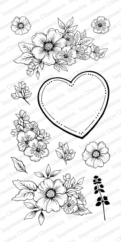 Impression Obsession Clear Stamp FLORAL HEART Set WP805* zoom image