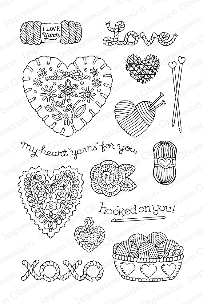 Pink Ink For Impression Obsession Clear Stamp YARN FOR YOU CL813* zoom image