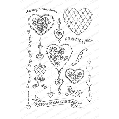 Pink Ink For Impression Obsession Clear Stamp STRING OF HEARTS Set CL810* Preview Image