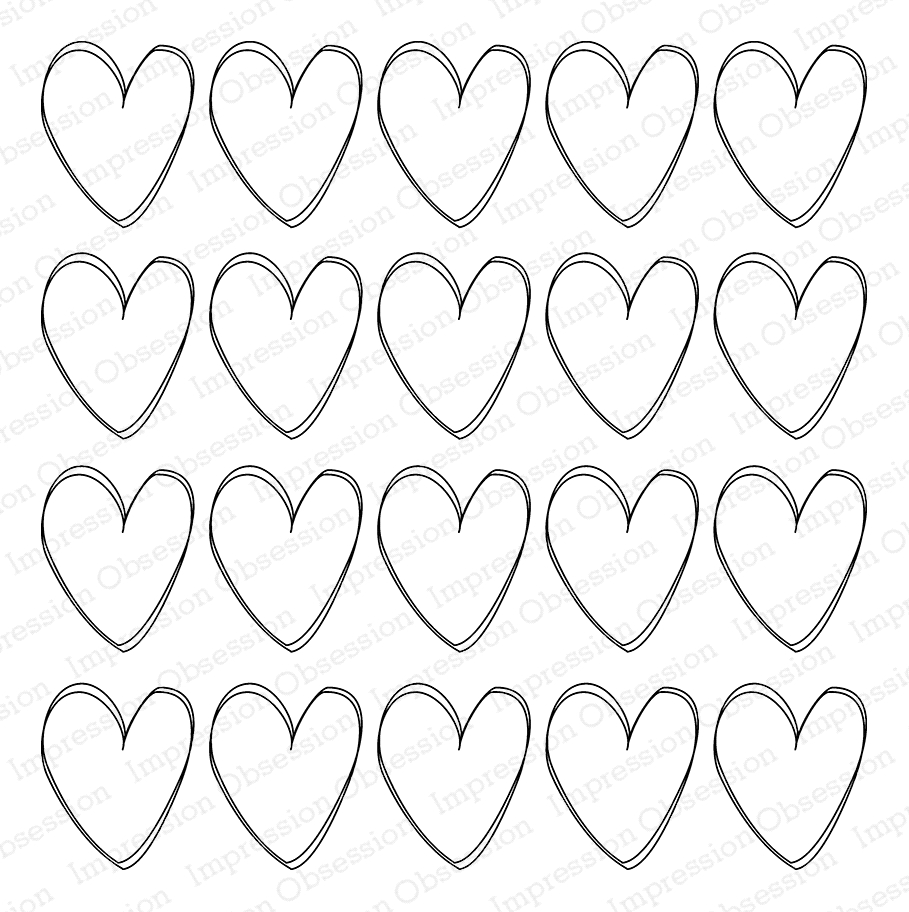 Impression Obsession Cling Stamp LOTS OF HEARTS Cover a Card CC302* zoom image
