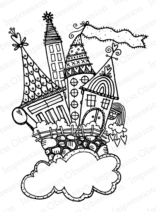 Impression Obsession Cling Stamp CASTLE CUTE SKY H19689* zoom image