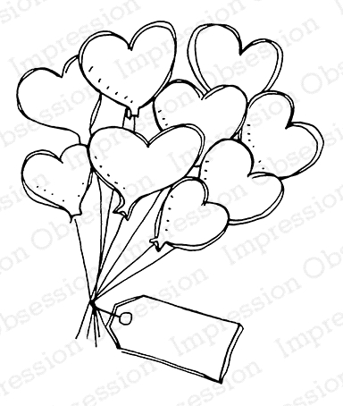 Impression Obsession Cling Stamp FLOATING HEARTS E7915 zoom image