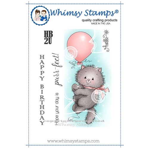 Whimsy Stamps KITTY BALLOON Rubber Cling Stamp c1232 Preview Image