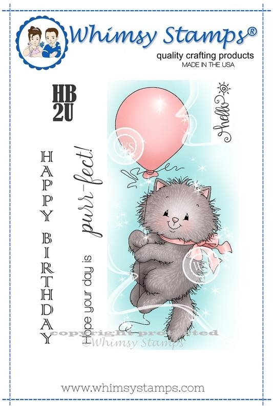 Whimsy Stamps KITTY BALLOON Rubber Cling Stamp c1232 zoom image