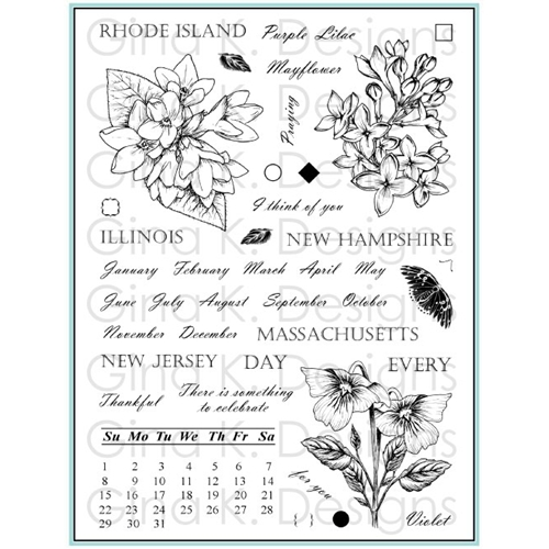 Gina K Designs STATELY FLOWERS 12 Clear Stamps 5560* Preview Image