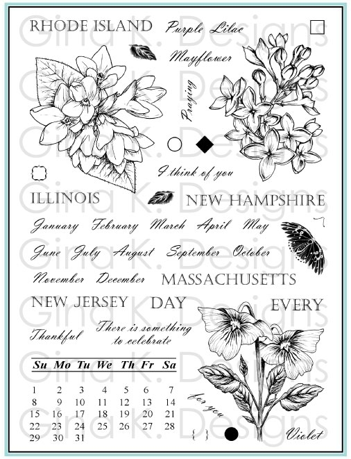 Gina K Designs STATELY FLOWERS 12 Clear Stamps 5560* zoom image