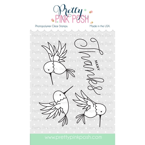 Pretty Pink Posh HUMMINGBIRD THANKS Clear Stamp Set Preview Image