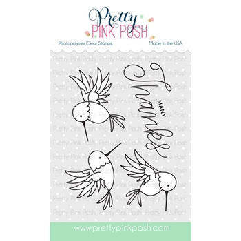 Pretty Pink Posh HUMMINGBIRD THANKS Clear Stamp Set