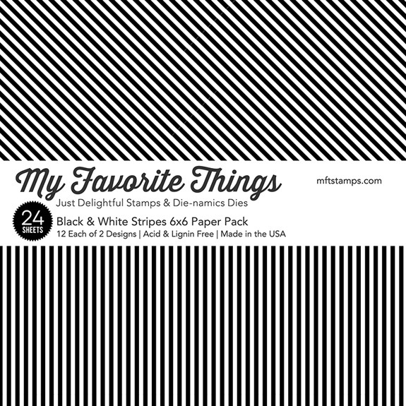 My Favorit Things Black and White Stripes 6x6 Paper Pack