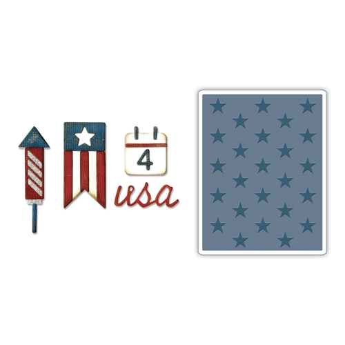 Tim Holtz Sizzix AMERICANA Side-Order Thinlits and Embossing Folder 662712 Preview Image